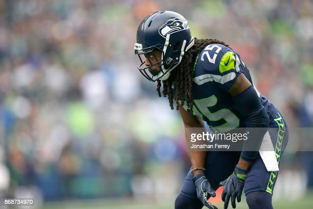 Richard Sherman of the Seattle Seahawks defends against the Houston Texans at CenturyLink Field on October 29 2017 in Seattle Washington