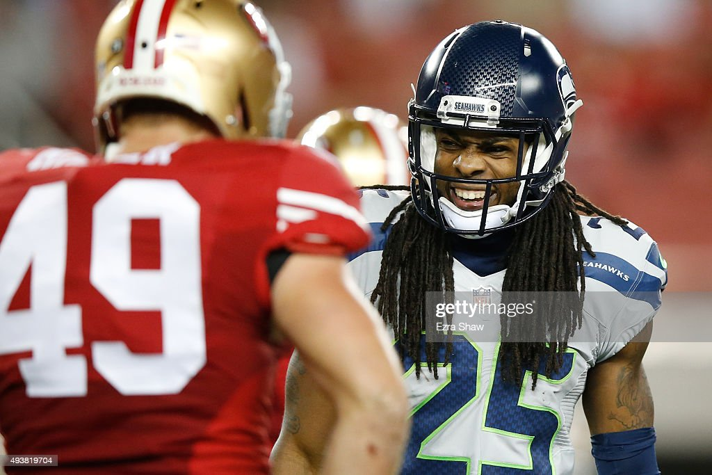 Richard Sherman #25 of the Seattle Seahawks reacts to a play against the San Francisco 49ers during their NFL game at Levi's Stadium on October 22, 2015 in Santa Clara, California.