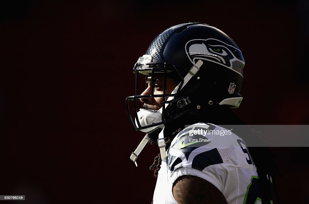 Richard Sherman #25 of the Seattle Seahawks warms up before their game against the San Francisco 49ers at Levi's Stadium on January 1, 2017 in Santa Clara, California.