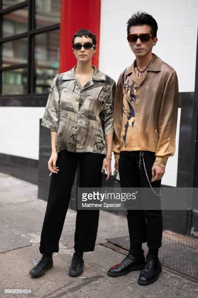 Richard Shieh and Mharie Burger are seen on the street during Men's New York Fashion Week wearing Necessity Sense Dior Anne Demuelemeester Converse...