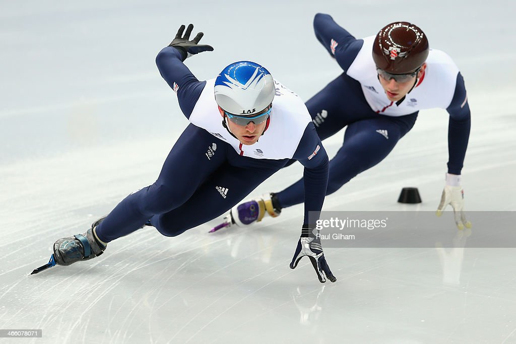 Richard Shoebridge (Left) and Jack Whelbourne (Right) of Great Britain in action during a Team Great Britain training session at the Iceberg Skating Palace on January 31, 2014 in Sochi, Russia.