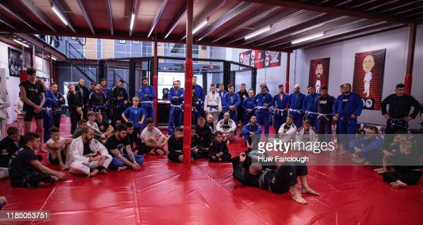 Richard Shore demonstrates Ju Jitsu to the open class at the opening of Shore Mixed Martial Arts on November 2 2019 in Abertillery Wales