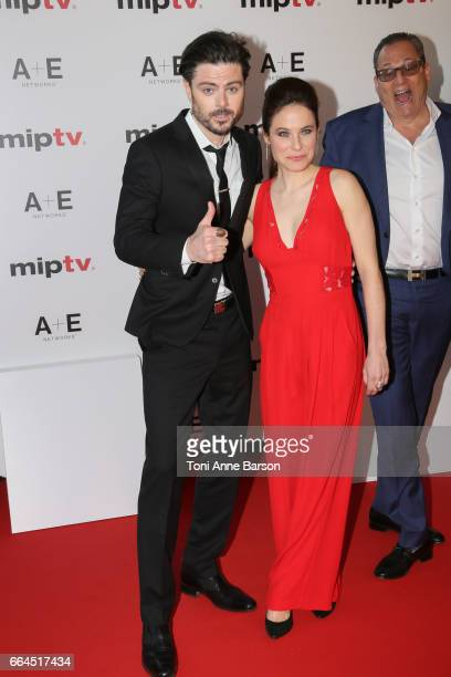 Richard Short and Caroline Dhavernas arrive at the MIPTV 2017 Opening Party at the Martinez Hotel on April 4 2017 in Cannes France