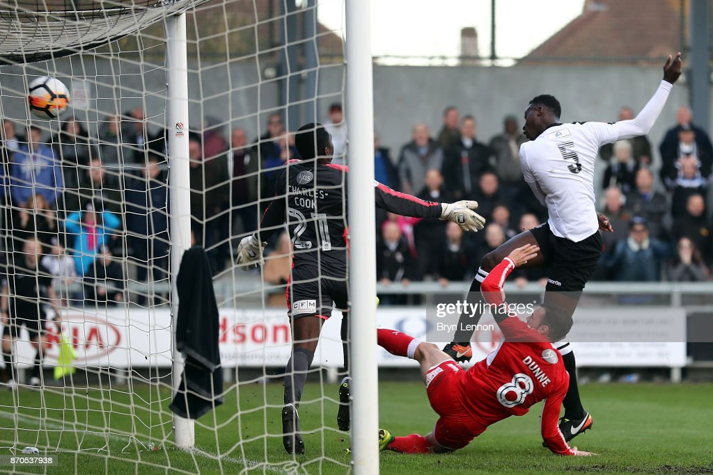 Richard Sho-Silva of Dartford FC scores during The Emirates FA Cup first round match between Dartford and Swindon Town at the Princes Park Stadium on November 5, 2017 in Dartford, England.