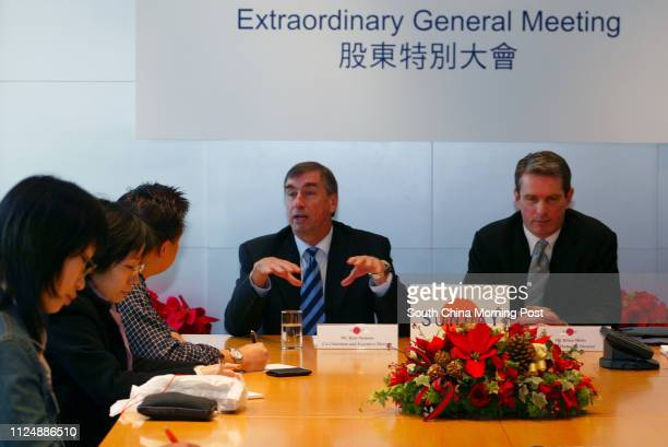 Richard Siemens cochairman and executive director of SUNDAY and Brunce Hicks group managing director of SUNDAY appears on the Extraordinary General...