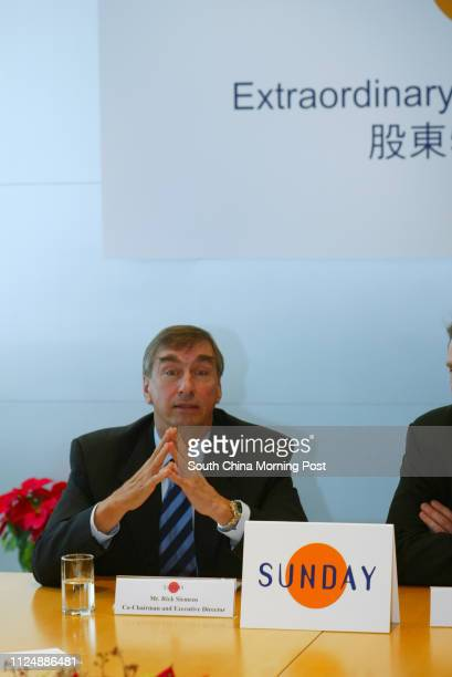 Richard Siemens cochairman and executive director of SUNDAY appears on the Extraordinary General Meeting of SUNDAY pictured at 13/F Warwick House...