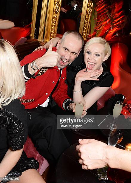 Richard Sloan and Gwendoline Christie attend a party in celebration of Edward Enninful in The Oscar Wilde Bar Hotel Cafe Royal on December 1 2014 in...