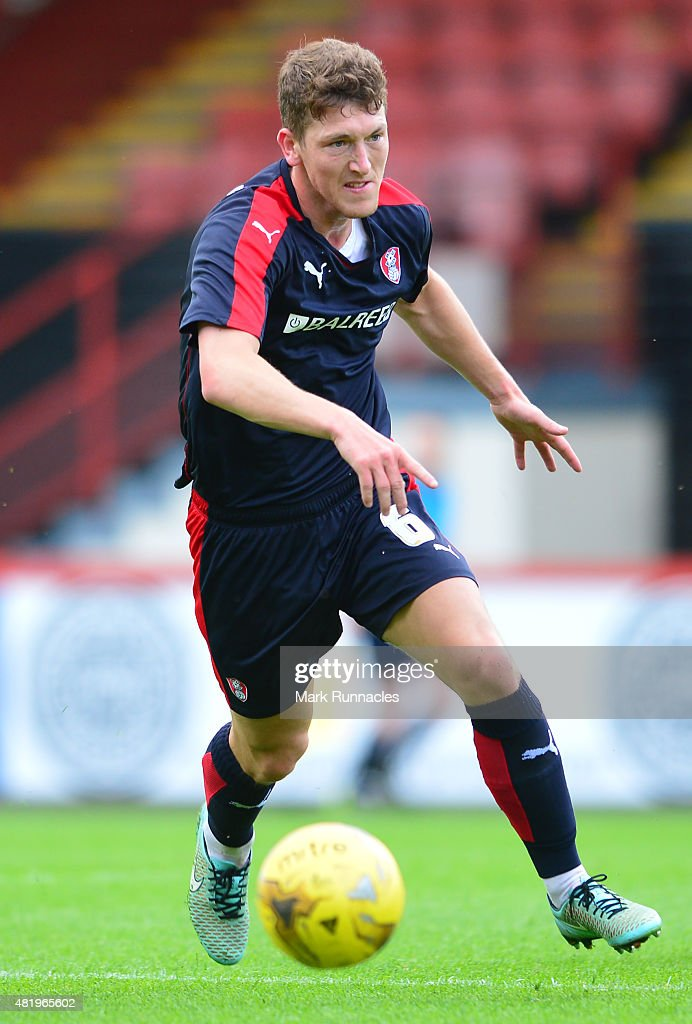 Richard Smallwood of Rotherham in action during a preseason friendly match between Patrick Thistle FC and Rotherham United at Firhill Stadium on July 25, 2015 in Glasgow, Scotland.