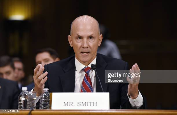 Richard Smith former chief executive officer of Equifax Inc testifies during a Senate Commerce Science and Transportation Committee hearing in...