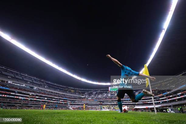 Richard Sánchez of America kicks the ball during the 2nd round match between America and Tigres UANL as part of the Torneo Clausura 2020 Liga MX at...