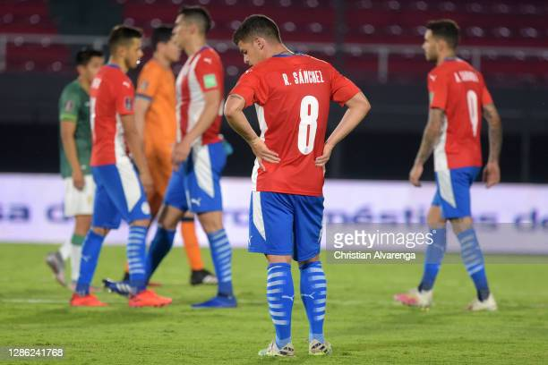 Richard Sánchez of Paraguay reacts after a match between Paraguay and Bolivia as part of South American Qualifiers for World Cup FIFA Qatar 2022 at...