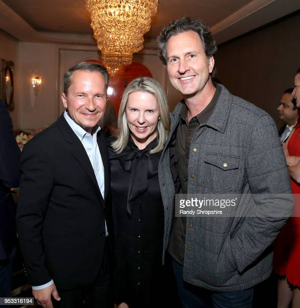 Richard Socarides Dena Cook and Loren Bendele attend GLG Social Impact Dinner At Milken at Cecconi's on April 30 2018 in West Hollywood California