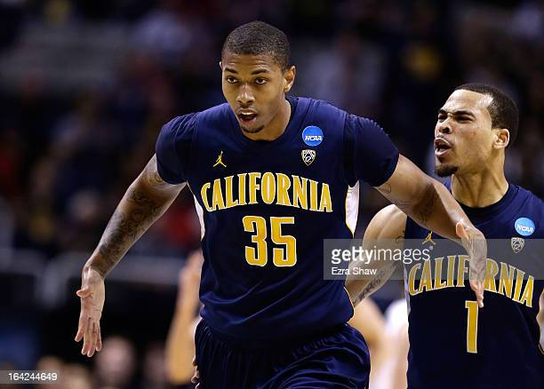 Richard Solomon and Justin Cobbs of the California Golden Bears celebrate after a three point basket by Solomon in the first half against the UNLV...