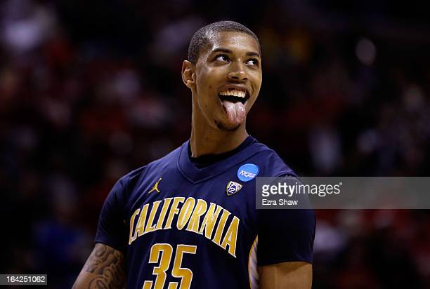Richard Solomon of the California Golden Bears celebrates late in the game against the UNLV Rebels during the second round of the 2013 NCAA Men's...