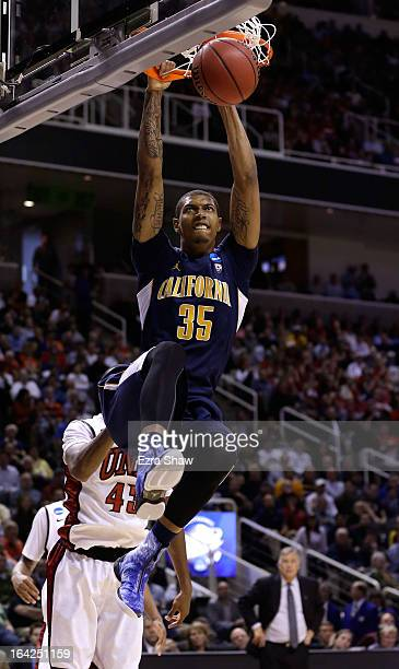 Richard Solomon of the California Golden Bears dunks the ball against the UNLV Rebels in the second half during the second round of the 2013 NCAA...