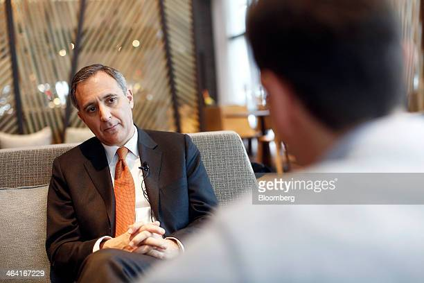 Richard Solomons chief executive officer of InterContinental Hotels Group Plc left pauses during a Bloomberg Television interview ahead of the...