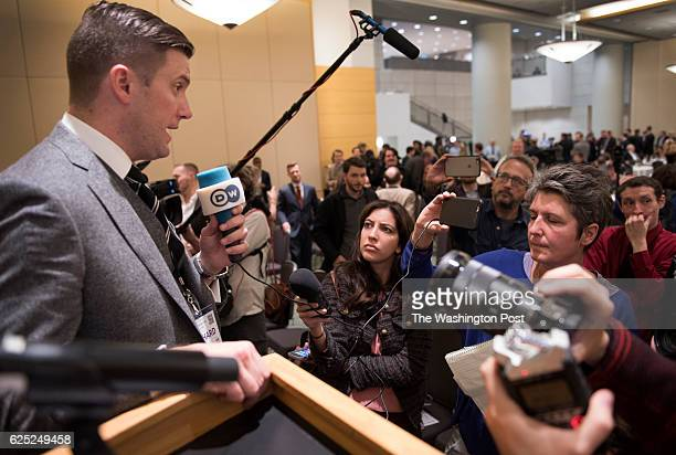 Richard Spencer handles media at an Alt Right conference hosted by the National Policy Institute in Washington DC on November 18 2016 The think tank...