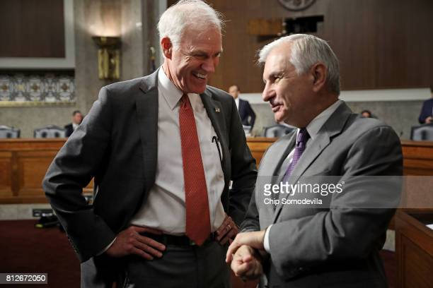 Richard Spencer talks with Sen Jack Reed ahead of Spencer's confirmation hearing before the Senate Armed Services Committee in the Dirksen Senate...