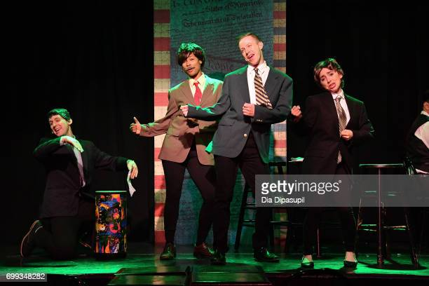 Richard Spitaletta Aiesha Alia Dukes Mitchel Kawash and Mia Weinberger perform onstage during the ME THE PEOPLE The Trump America Musical Press...