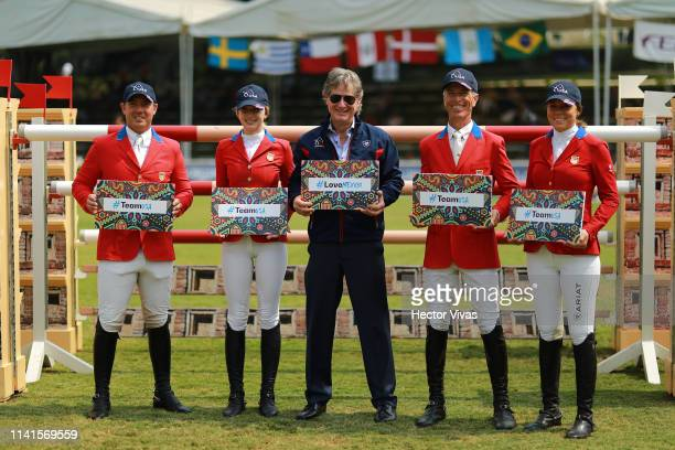 Richard Spooner Eve Jobs Robert Ridland Alex Granato and Nicole ShahinianSimpson of United States pose during the Longines FEI Jumping Nations Cup...