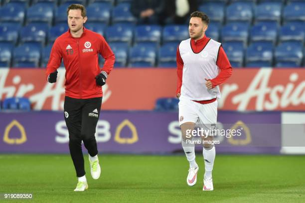 Richard Stearman and George Baldock of Sheffield United before the FA Cup Fifth round match between Leicester City and Sheffield United at The King...