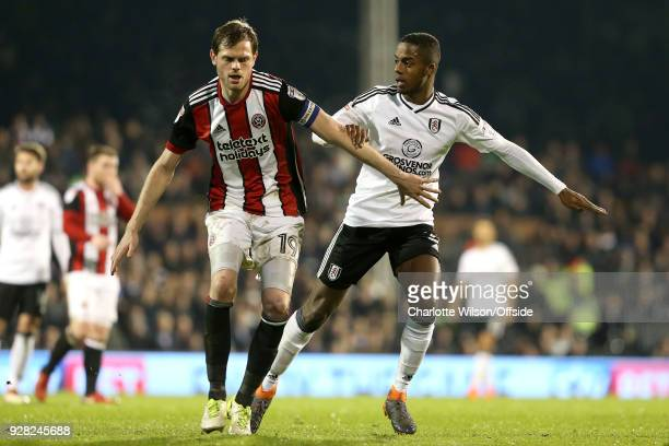 Richard Stearman of Sheffield United and Ryan Sessegnon of Fulham during the Sky Bet Championship match between Fulham and Sheffield United at Craven...