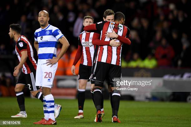Richard Stearman of Sheffield United celebrates with teammate Leon Clarke after scoring his sides first goal during the Sky Bet Championship match...