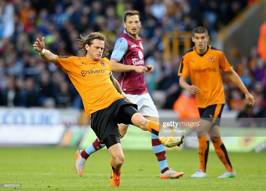 Richard Stearman of Wolverhampton Wanderers clears the ball during the pre season friendly between Wolverhampton Wanderers and Aston Villa at Molineux on July 28, 2015 in Wolverhampton, England.