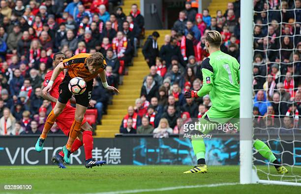 Richard Stearman of Wolverhampton Wanderers heads to score the opening goal past Loris Karius of Liverpool during the Emirates FA Cup Fourth Round...