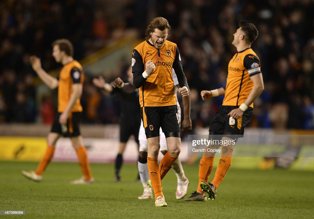 Richard Stearman of Wolves celebrates victory after the Sky Bet Championship match between Wolverhampton Wanderers and Derby County at Molineux on March 20, 2015 in Wolverhampton, England.