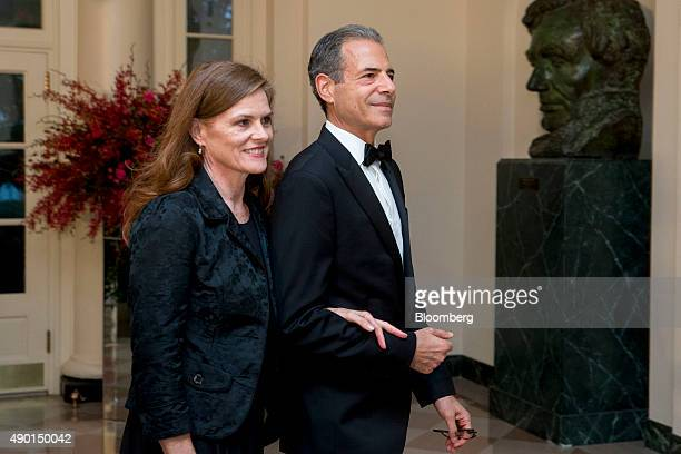 Richard Stengel under secretary of state with the US State Department right and Mary Stengel arrive at a state dinner in honor of Chinese President...