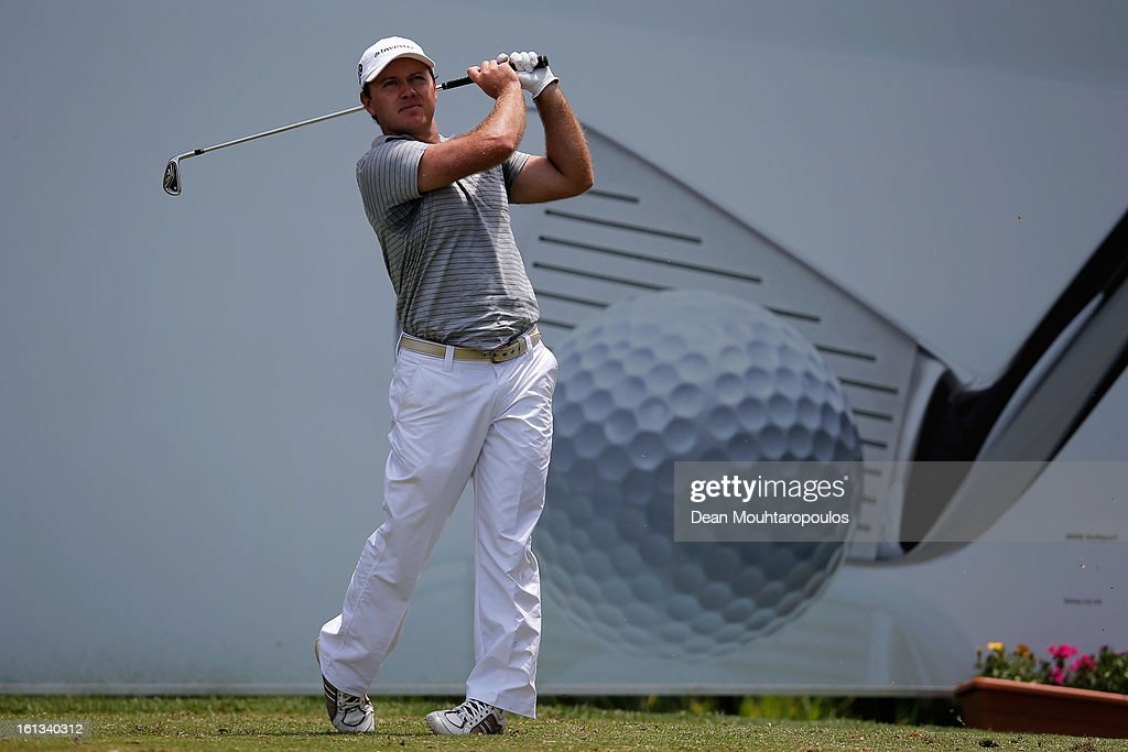 Richard Sterne of South Africa hits his tee shot on the 16th hole during the Final Round of the Joburg Open at Royal Johannesburg and Kensington Golf Club on February10, 2013 in Johannesburg, South Africa.