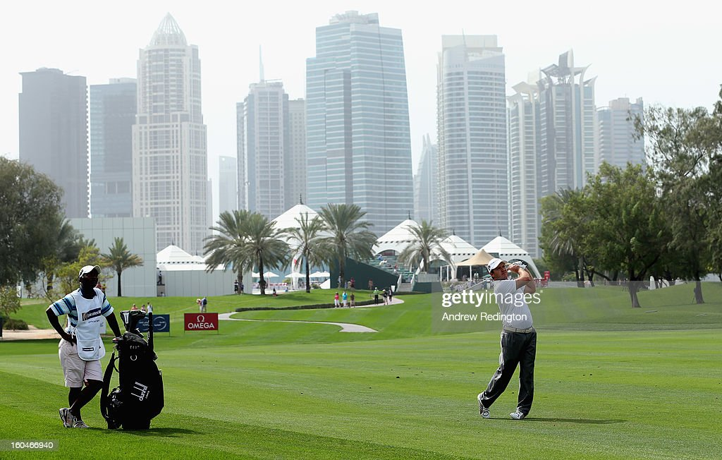 Richard Sterne of South Africa plays his second shot on the first hole during the second round of the Omega Dubai Desert Classic at Emirates Golf Club on February 1, 2013 in Dubai, United Arab Emirates.