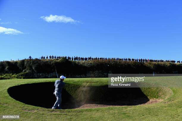 Richard Sterne of South Africa plays his second shot out of the 13th bunker during day three of the 2017 Alfred Dunhill Championship at Kingsbarns on...