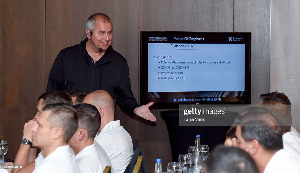 Richard Stokes, Euroleague Basketball Officiating Director, addresses to the participants during the 26th Clinic for Euroleague Basketball Officials at Metropol Palace Hotel on August 20, 2017 in Belgrade, Serbia.