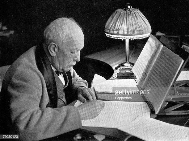 """Richard Strauss, The German composer at work on his new opera """"Die Schweigende Frau"""""""