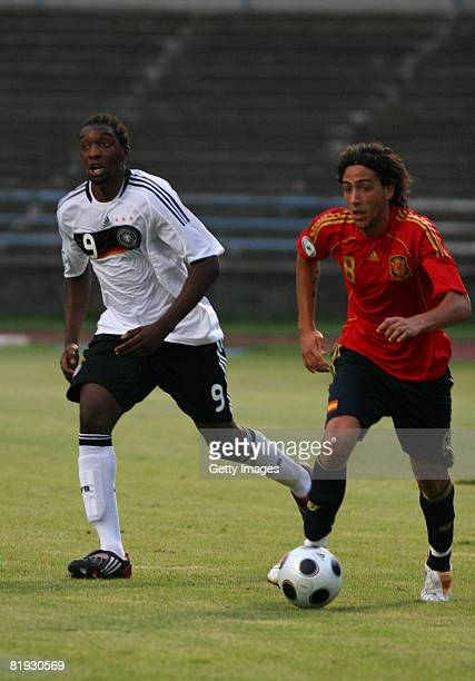 Richard SukutaPasu of Germany and Daniel Parejo of Spain in action during the UEFA European U19 Championship match between Germany and Spain at the...