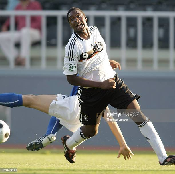 Richard Sukuta-Pasu of Germany and Matteo Gentili of Italy battle for the ball l during the U19 European Championship final match between Germany and...