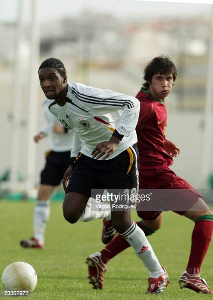 Richard SukutaPasu of Germany in action during the Men's U17 international Tournament match between Portugal and Germany at the Estadio Municipal de...