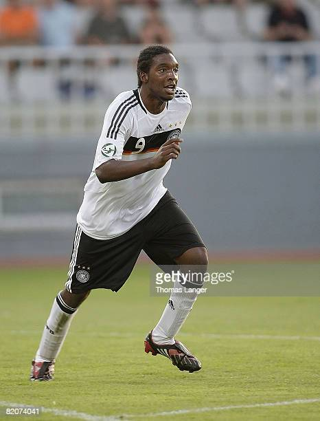 Richard Sukuta-Pasu of Germany reacts after scoring the 2-0 goal during the U19 European Championship final match between Germany and Italy on July...