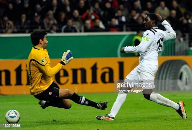 Richard SukutaPasu of Kaiserslautern is scoring his teams first goal during the DFB Cup second round match between Eintracht Frankfurt and 1FC...