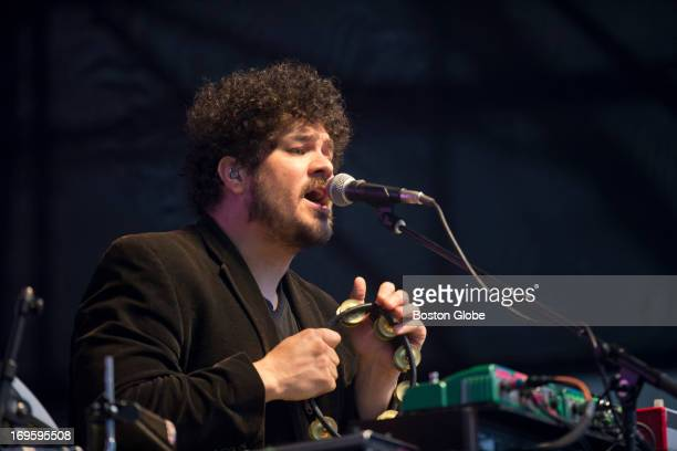 Richard Swift keyboard and vocalist with the Shins performs on the main stage at the Boston Calling Music Festival at City Hall Plaza on Saturday May...