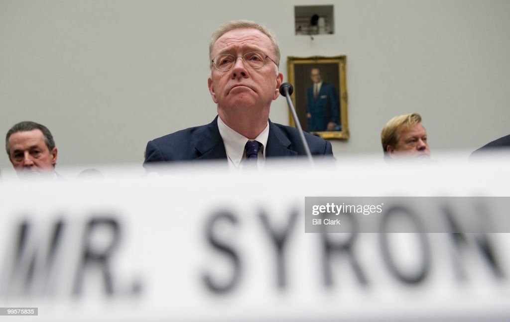 Richard Syron, former CEO of Freddie Mac, listens to opening statements from members of the House Oversight and Government Reform Committee during a hearing focused on the role of Fannie Mae and Freddie Mac in the ongoing financial crisis on Tuesday, Dec. 9, 2008.