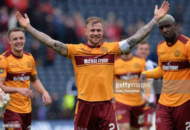 Richard Tait of Motherwell celebrates at the final whistle as Motherwell beat Aberdeen 30 during the Scottish Cup Semi Final match between Motherwell...