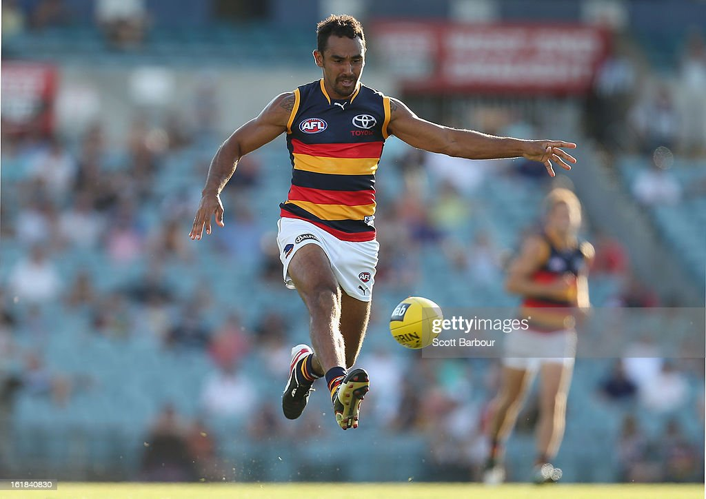 Richard Tambling of the Crows kicks the ball during the round one AFL NAB Cup match between the Adelaide Crows and the Port Adelaide Power at AAMI Stadium on February 17, 2013 in Adelaide, Australia.