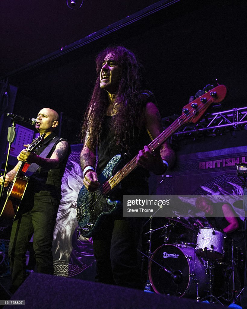 Richard Taylor and Steve Harris of British Lion perform on stage on March 27, 2013 in Birmingham, England.