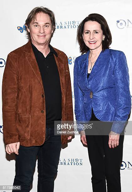 Richard Thomas and Carol Higgins Clark attend the 2016 Broadway Supports The NMA at Sardi's on March 24 2016 in New York City