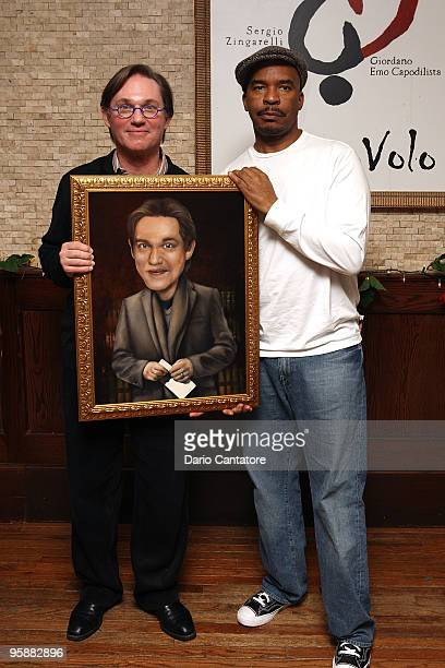 Richard Thomas and David Alan Grier attend the unveiling of Richard Thomas' Broadway Wall of Fame portrait at Tony's di Napoli on January 19 2010 in...