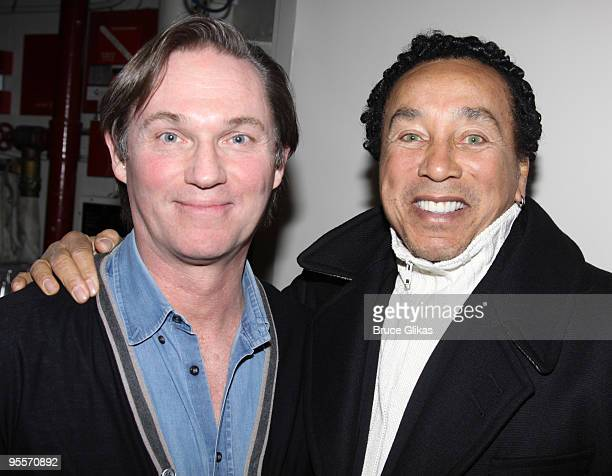 Richard Thomas and Smokey Robinson pose backstage at 'RACE' on Broadway at The Barrymore Theater on January 2 2010 in New York City