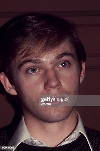 Richard Thomas closeup wearing a brown sweater at the book signing for 'Poems' his book circa 1970 New York